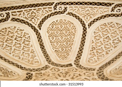 A detail of a Moorish style stucco in Marrakesh