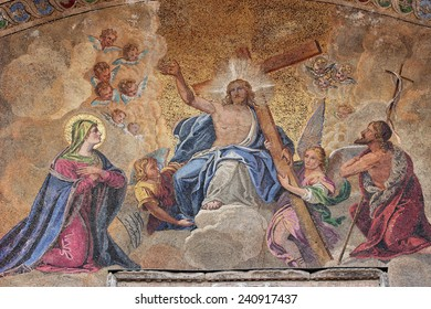 Detail of a mosaic at the entrance of St. Mark's church in Venice