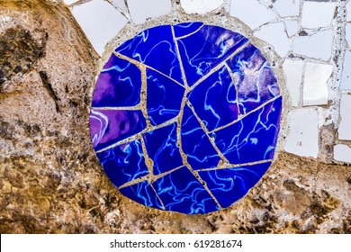 Detail Of Mosaic - Park Guell, Barcelona, Catalonia, Spain, Europe