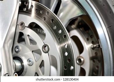 Detail of an motorcycle disc brake.