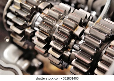 Detail of a motorcycle gearbox.