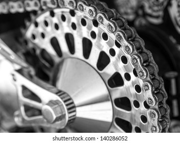 Detail of a motorcycle rear chain