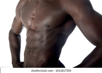 detail of the muscular torso of an African man