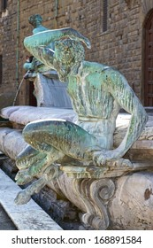 Detail of the Neptune Fountain on the Piazza della Signoria in Florence, Italy