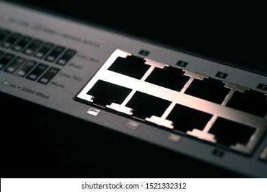 Detail of Network Switches rj45 ports. Macro shot