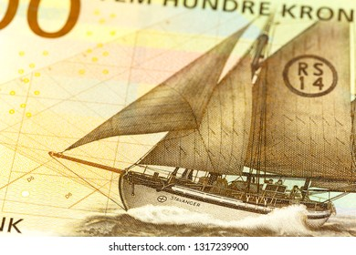 detail of a new 500 norwegian krone banknote obverse