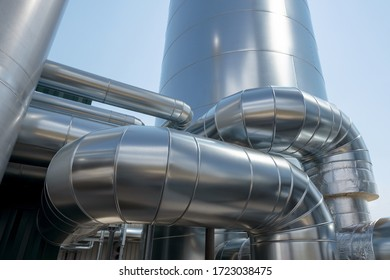 Detail of a new industrial plant with pipes and silo made of metal - part of a biogas plant