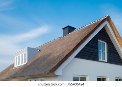 detail of a newly build luxurious white villa with thatched roof in the netherlands