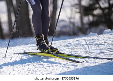 Detail of nordic ski skier on a slope