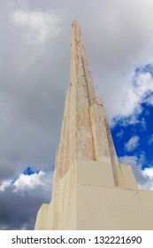 Detail of the obelisk standing 44 meters tall, celebrating the victorious battle of Ayacucho of 1824, where Peru gained its independence from Spain