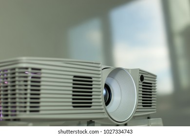 detail of an office beamer projector during a meeting