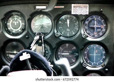Detail of old airplane cockpit. Aircraft equipment, various indicators, buttons, instruments. The flight desk and control panel during take off and landing. Aircraft dashboard panel in pilot school