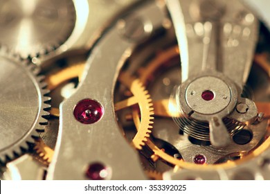 Detail of old analogy wheels in the clock motor (shallow DOF is an intention)