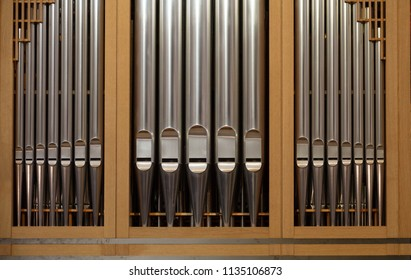 Detail of old antique church organ pipes