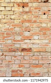 Detail of old brick wall, distressed and faded. Ideal for grunge background texture
