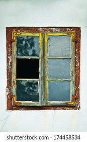 detail of old broken window