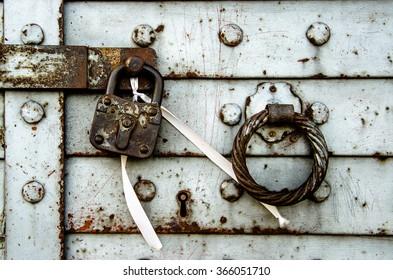 Detail from the old door of the venetian castle in Sitia-Crete-Greece. Crete-Greece.