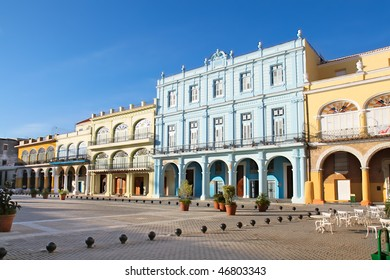 Detail of Old Havana plaza Vieja with colorful tropical buildings, Havana ,Cuba