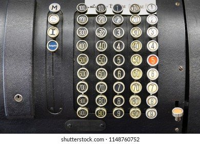 detail of old historic cash register with numbers