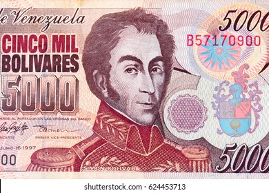 Detail of old invalid Venezuelan 5000 Bolivar banknote with the portrait of Simon Bolivar
