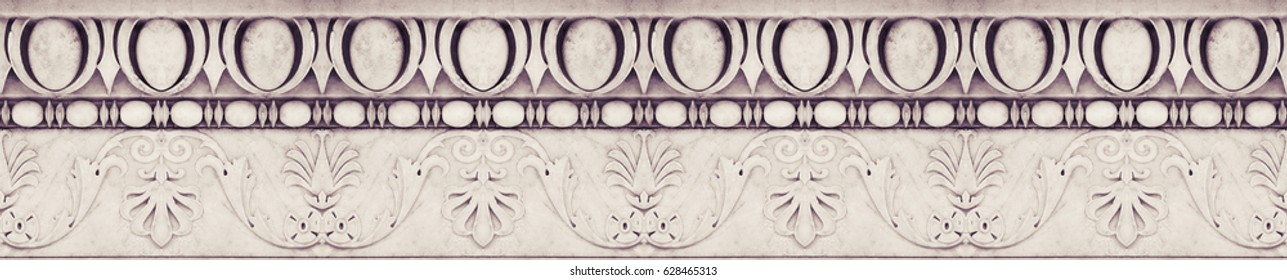 Detail of an old Italian molding stone eaves with geometric shape - seamless texture