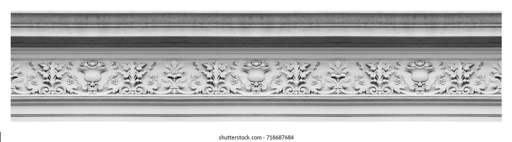Detail of an old Italian molding stone eaves with foliage and plants - Seamless pattern