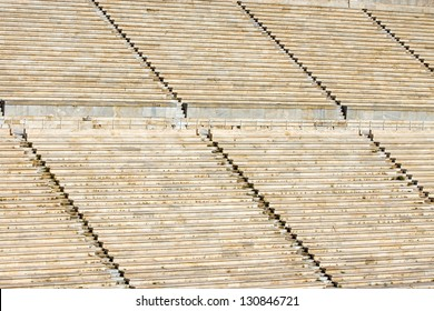 Detail of the old Panathenaic stadium at Arditos hill in Athens, Greece