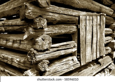 Detail of an old pioneer era log cabin in Great Smoky Mountains National Park