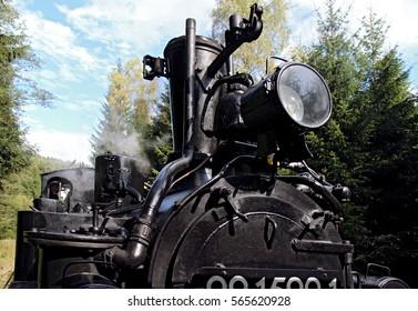 detail of old steam locomotive