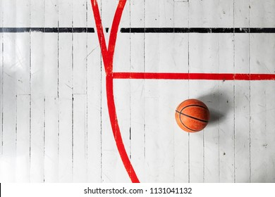 Detail from an old style gymnasium with basketball court lines