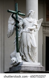 Detail of the Old Testament Angel sculpture at the entrance or the Karlskirche (Saint Charles Church) in Vienna, Austria, seen from Karlsplatz