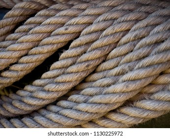 Detail of a old used jute rope