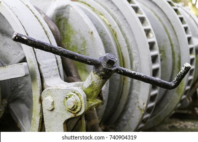 Detail of an old winch. Vintage windlass.