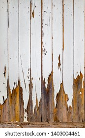 Detail of an old wooden door with peeling white paint