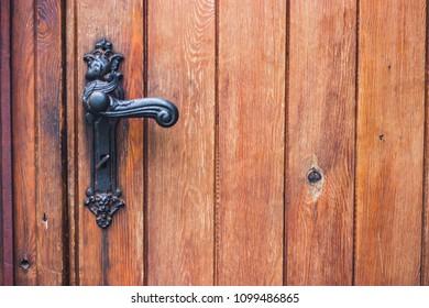 detail of an old wooden door. Selective focus. place for text