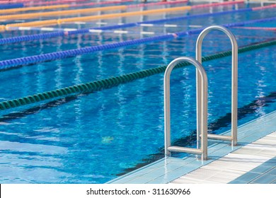 Detail from olympic swimming pool with swim lanes