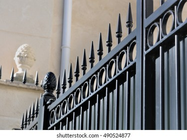 detail on a black metal gate in a private residence