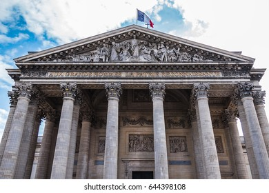 Detail on front facade of Pantheon (originally built as a church dedicated to St. Genevieve, 1758 - 1790, now secular mausoleum). Place du Pantheon, Latin Quarter. Paris, France.