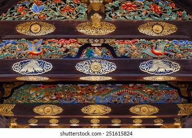 Detail on the Gate of Nijo Castle in Kyoto, Japan Detail of main gate of Nijo Castle in Kyoto, Japan