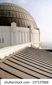 Detail on Griffith Observatory in late afternoon with Los Angeles, California in the background