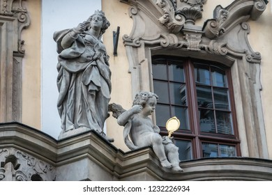 Detail on the old university in Wroclaw, Poland