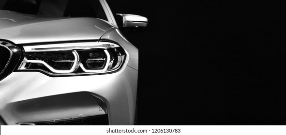 Detail on one of the LED headlights modern car.copy space