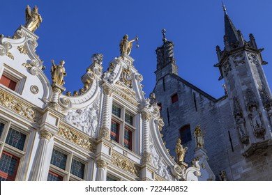 Detail on the Stadhuis van Brugge (Bruges City Hall) in the city of Bruges in Belgium. It is located in Burg Square, the area of the former fortified castle in the centre of Bruges. Dates from 1376.
