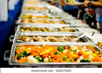 Detail on steamed vegetables in professional warm catering