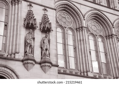 Detail on Town Hall, Manchester by Waterhouse (1877), England, UK in Black and White Sepia Tone