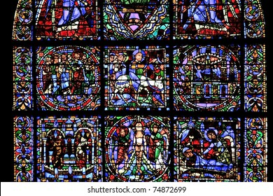 Detail from one of the beautiful stained-glass windows in Chartres Cathedral, France
