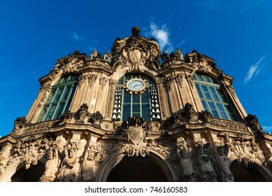 Detail of one of the gates to the Zwinger Palace in Dresden, a baroque palace that served as the orangery, exhibition gallery and festival arena of the Dresden Court.