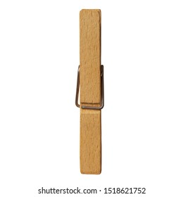 Detail of One Wooden Clothespin or Clothes Peg Isolated on White Background, Eco Friendly Universal Clip