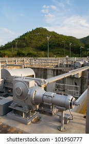 Detail of the opening mechanism for a floodgate at the Lower Me Ping Dam in Tak Province, Thailand.