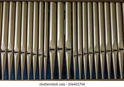 Detail organ pipe tubes in a church.